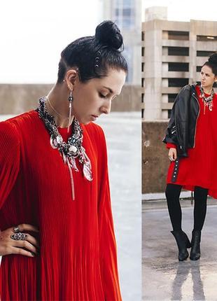 Трендовое красное платье zara