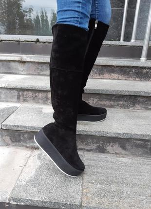 36 37 38 39 40 кожаные зимние сапоги. черные ботфорты с натуральной замши