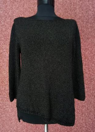Красивый ассиметричный свитер с блестящей нитью