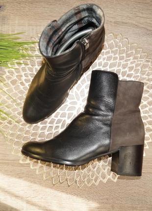 (39/25,5см) кожа/замша! стильные полусапожки, ботинки на устойчивом каблучке