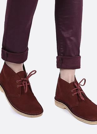 Шикарные бордовые кожаные ботинки дезерты кларкс clarks р.36-37 стелька 23,5см