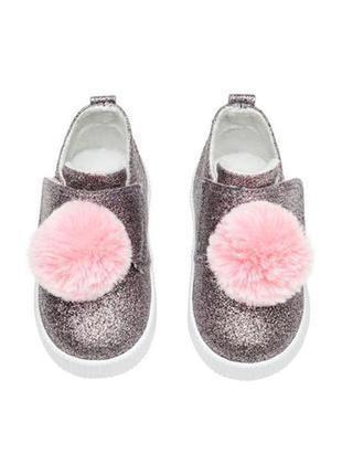Изумительные блестящие хайтопы, ботинки, экокожа, глиттер, флис, h&m, 14,7 см