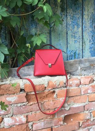 Кожаная красная сумка ручной работы, hand made.