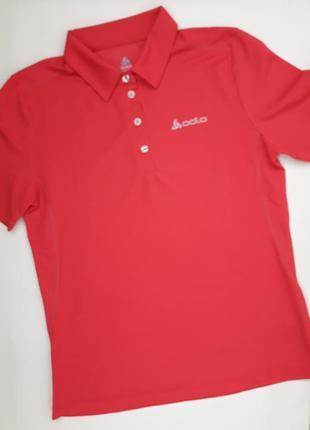 Фирменная яркая спортивная футболка поло бренда odlo