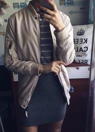 Куртка бомбер утепленная удлиненная