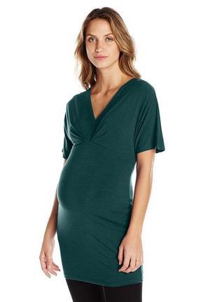 """Длинная туника-футболка с драпировкой в области груди для беременных, или фигур """"яблоко"""" l"""