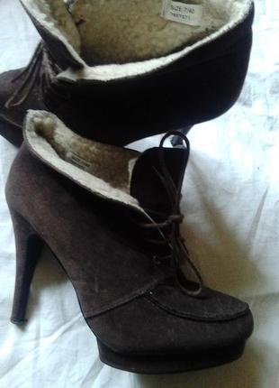 Натуральные кожаные замшевые ботинки замш на цегейке