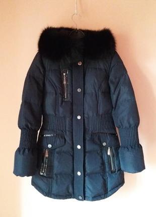 Пуховик теплый натуральний комір мех / зимняя куртка пальто