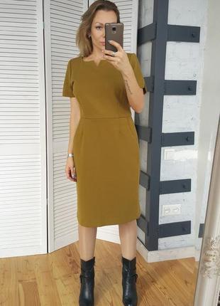 Платье горчичного цвета миди с карманами