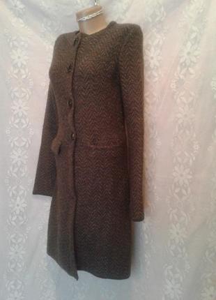Тонкое вязанное коричневое пальто- кардиган, s.