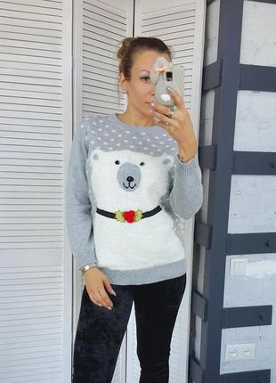 Супер свитер с белым медведем