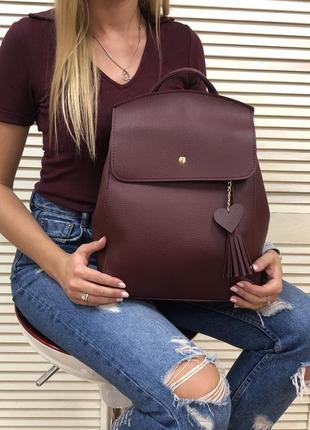 Бордовый женский рюкзак-сумка через плечо трансформер