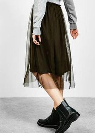 Новая крутая юбка пачка фатиновая юбочка фатин сетка хаки bershka