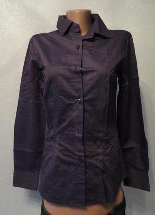 Рубашка, блуска в полоску фиолетовая 42 44р, котон