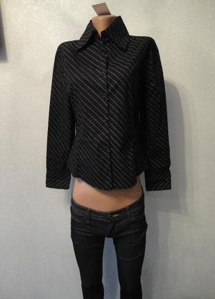 Рубашка, блузка черная в белую в полоску 46 48