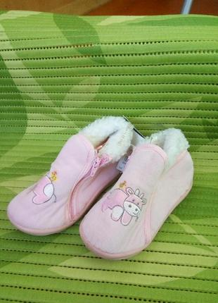 Тканевые розовые  теплые тапочки с коровками prix mini