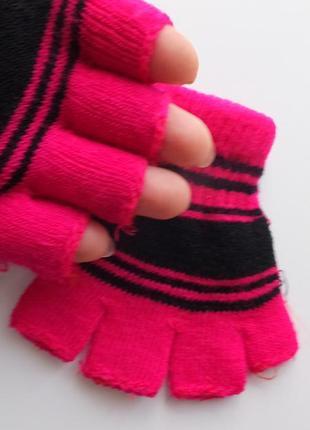 Демисезонные перчатки стрейчевые розовые в полоску на 2 -3 года
