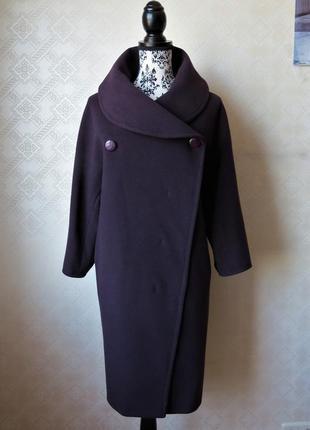Шерстяное пальто оверсайз спелая слива