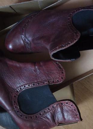 Супер стильные кожаные ботиночки челси оксфордеты бордо-марсала 37-38