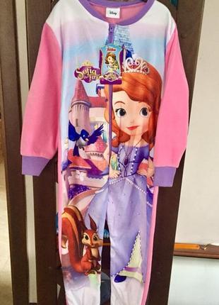 Пижама флисовая сдельная принцесса софия, теплый слип для девочки 2-8 лет