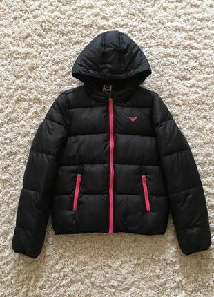 Зимняя супер теплая черная куртка короткая roxy оригинал зима с капюшоном