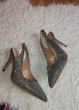 Лодочки женские серебряные лодочки туфли на каблуке