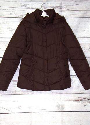 Крутая утепленная коричневая детская куртка с капюшоном на холодную осень