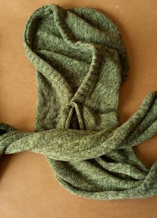 Оригинальный хлопковый шарф с капюшоном