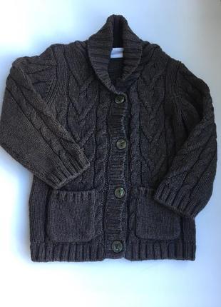 Коричневый теплый шерстяной свитер на пуговицах вязка косами 12-18м 86см