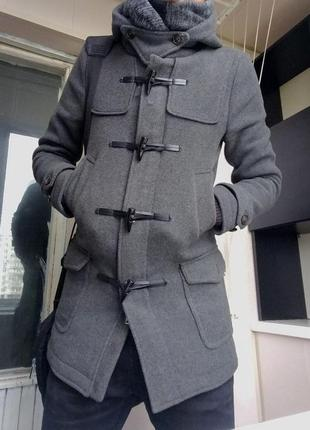 Зимнее тёмно-серое длинное пальто piazza italia