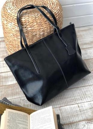 Черный кожаный шоппер. сумка