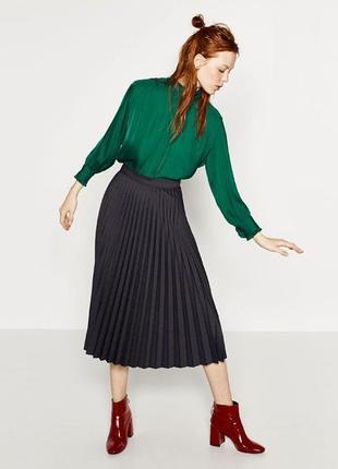 Шикарная плисированая нарядная юбка миди