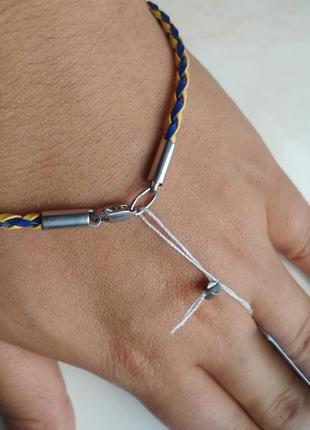 Новый серебреняный браслет с плетеной кожей