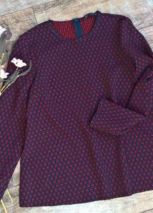 Плотная блуза/кофта/от zara/ синяя с красным/с круглым вырезом-s-m