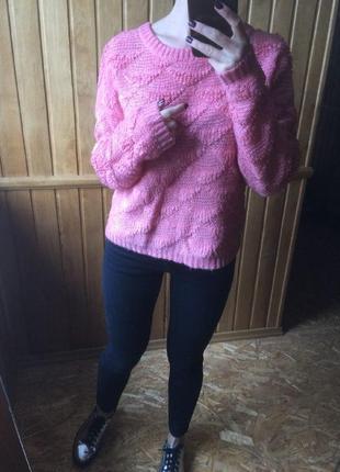 Теплый розовый нежный свитер atmosphere