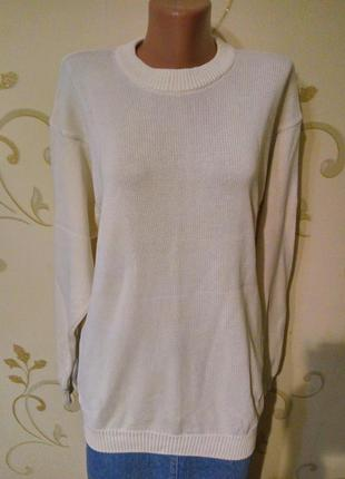 Белый хлопковый свитер джемпер пуловер marks & spencer . большой размер