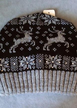 Зимняя вязаная шапка с оленями braxton