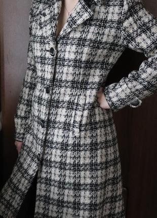 Винтажное пальто в клетку 46 размер