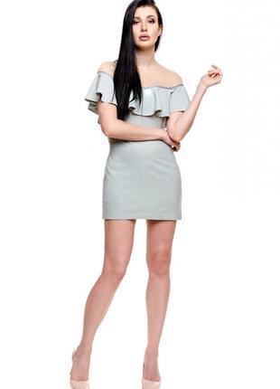 Роскошное платье poliit с рюшей и сеточкой! размер 36. бирюза