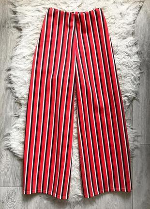 Штаны брюки клёш кюлоты полосатые красные