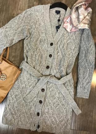 Вязаное пальто jct италия кардиган шерсть серое