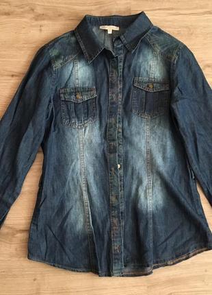 Джинсовая рубашка с вставками/синяя/м-ка