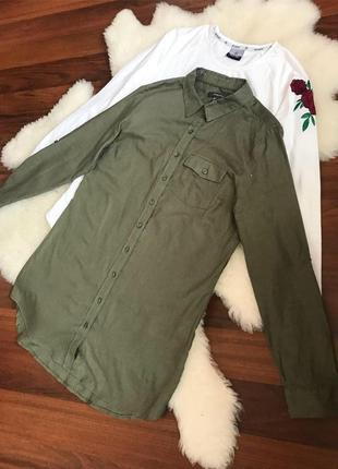 Натуральная рубашка цвета хаки