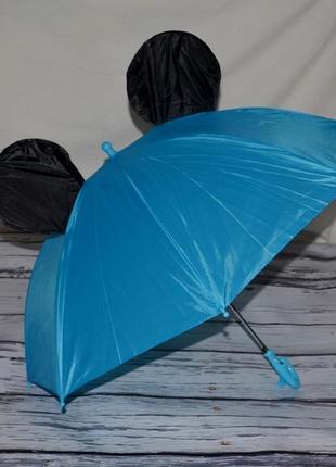 Зонтик зонт детский трость микки маус со свистком синий разные цвета