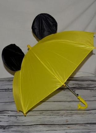 Зонтик зонт детский трость микки маус со свистком желтый разные цвета