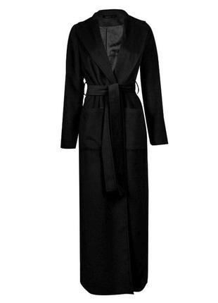 Шикарное длинное пальто манто на запах asos boohoo c разрезами по бокам