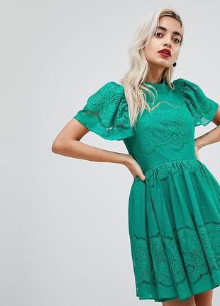 Кружевное платье мини с пышными рукавами asos petite
