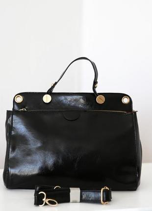 Лаковая/глянцевая сумка с короткой ручкой и длинным ремешком,золотая фурнитура