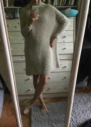 Шикарное платье миди оверсайз италия из шерсти альпаки 10-12-14-16