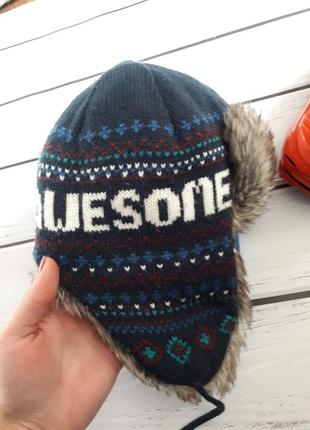Новая шапка ушанка. зимняя. возраст 3 - 6 лет